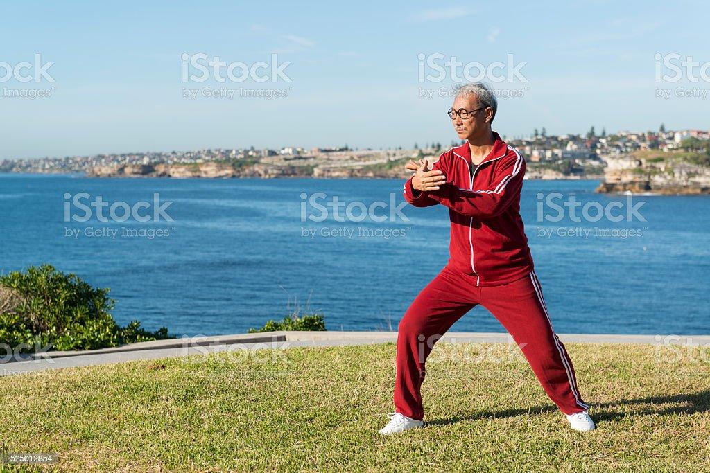 Mature Chinese Man Practising Tai Chi Chuan in Park stock photo