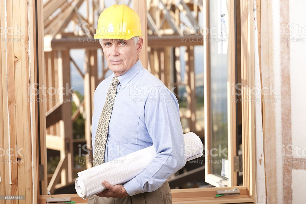 Mature Construction Foreman on Job Site royalty-free stock photo