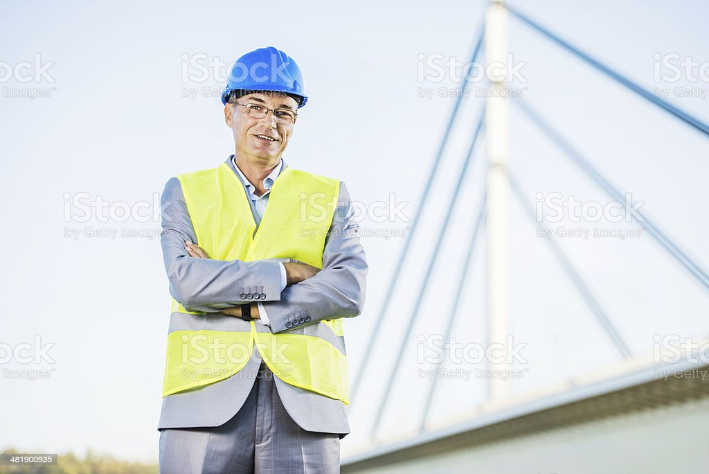 Mature construction worker. stock photo