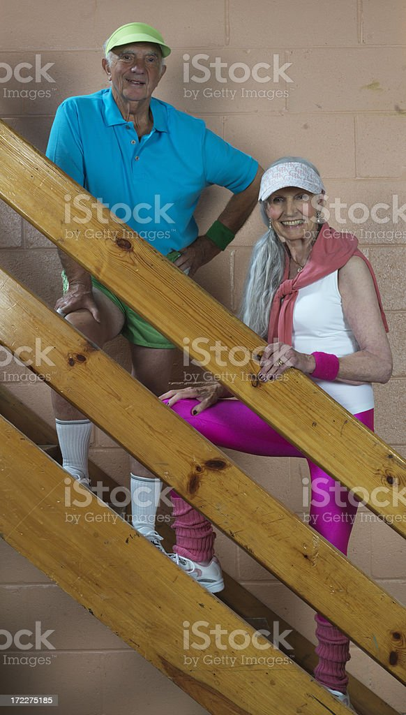 Mature couple at the gymnasium royalty-free stock photo