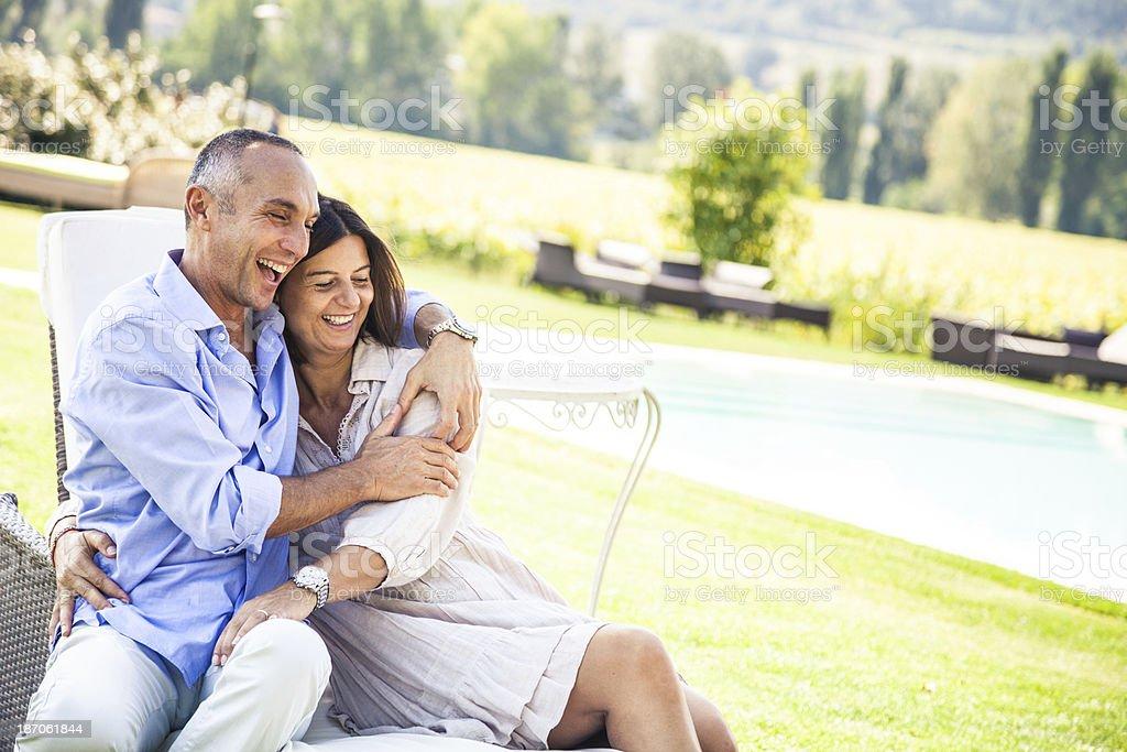 Mature couple celebrating anniversary royalty-free stock photo