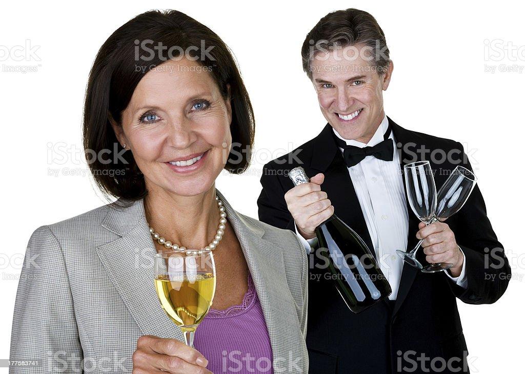 Mature couple celebrating royalty-free stock photo