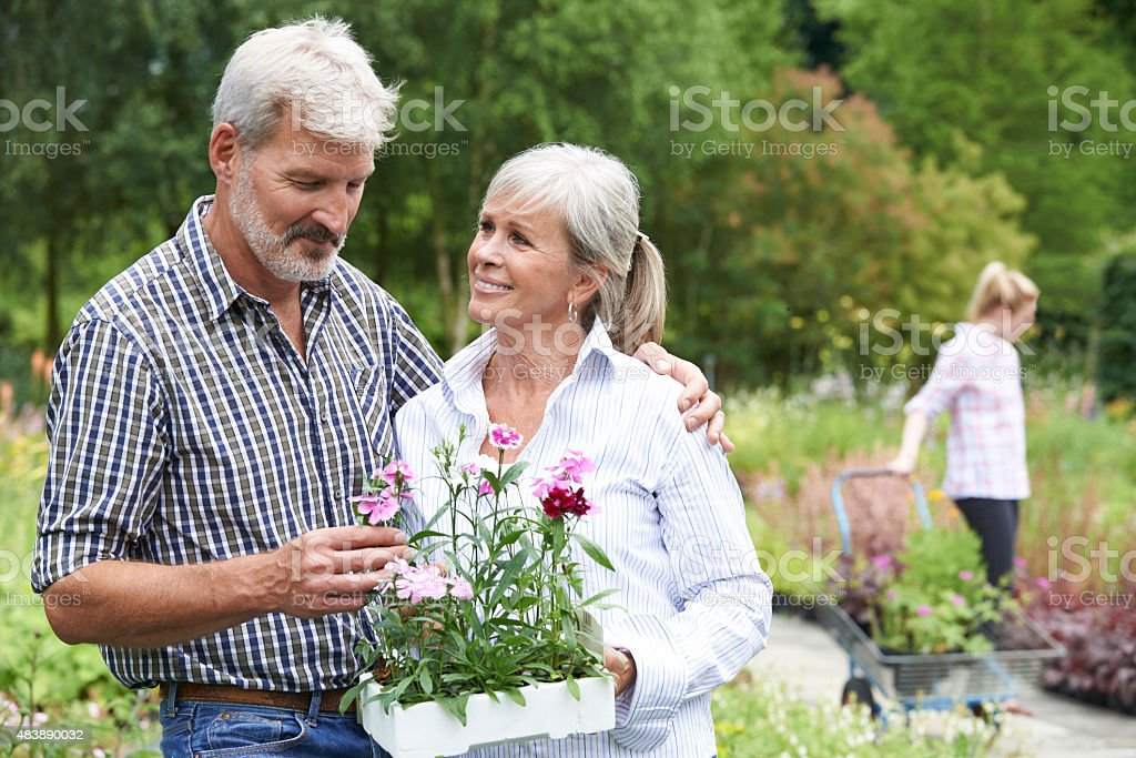 Mature Couple Choosing Plants At Garden Center stock photo