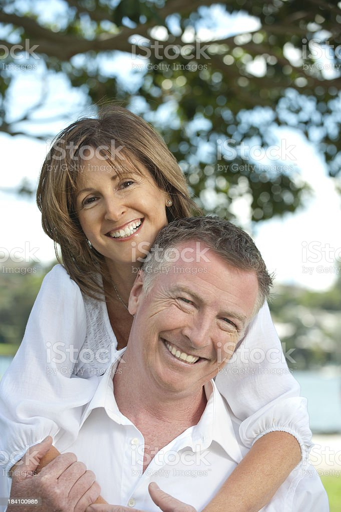 Mature couple embracing royalty-free stock photo