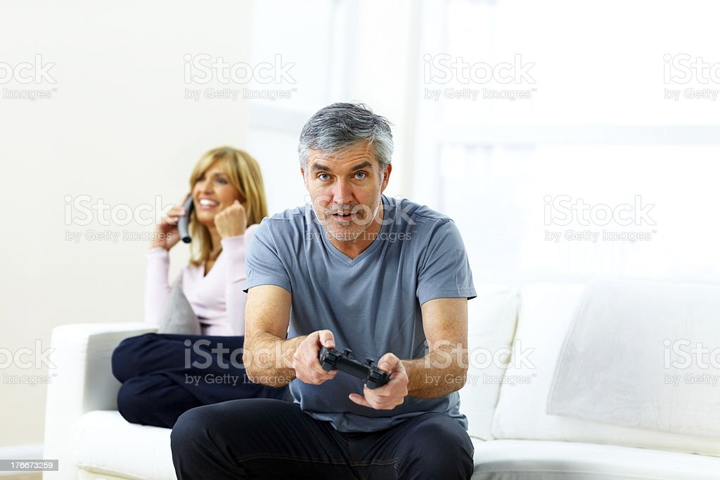 Mature couple enjoying free time royalty-free stock photo