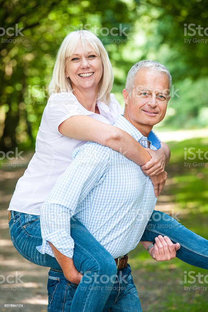 Mature Couple Enjoying The Great Outdoors stock photo