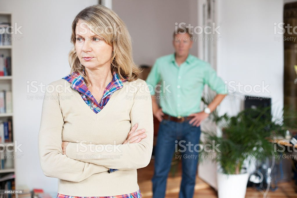 Mature couple experiences marital problems stock photo