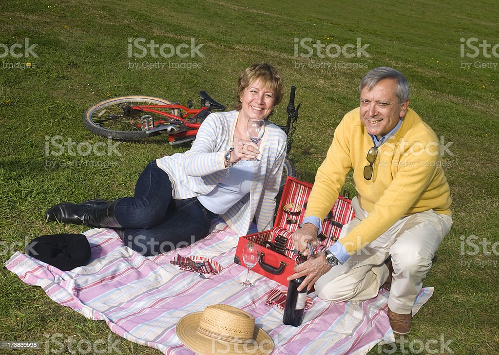 Mature couple having a country picnic royalty-free stock photo