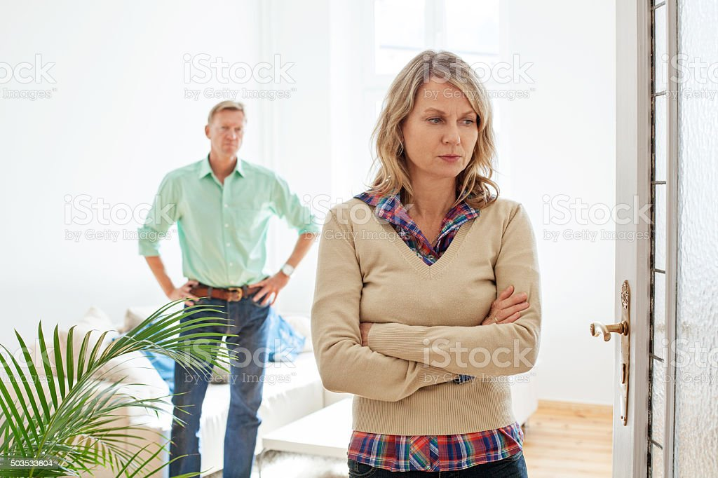 Mature couple having relationship difficulties stock photo
