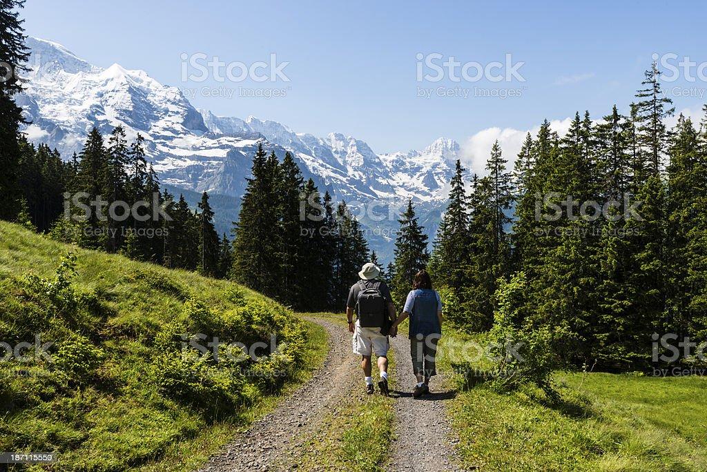 Mature couple hiking down a trail with beautiful mountain views.-XXXL stock photo