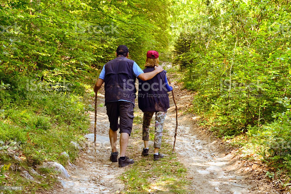 Mature Couple Hiking in a Forest royalty-free stock photo