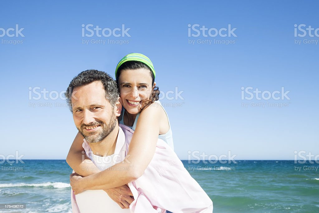 Mature couple, holidays, beach royalty-free stock photo