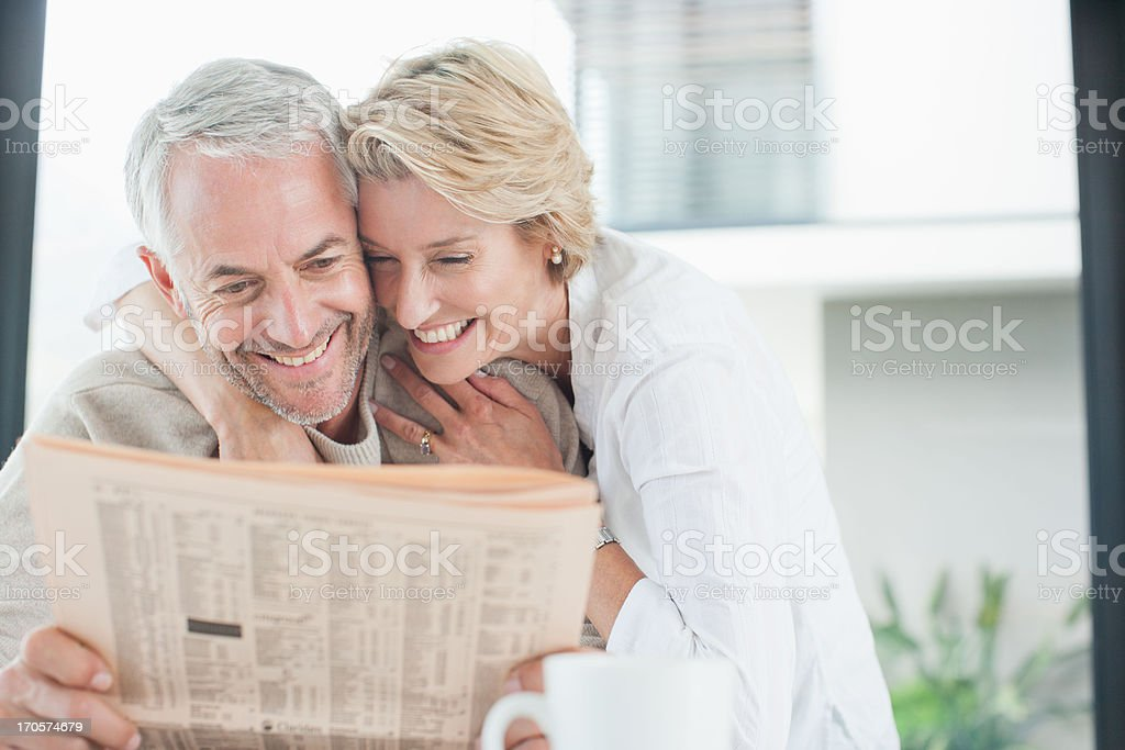Mature couple hugging royalty-free stock photo