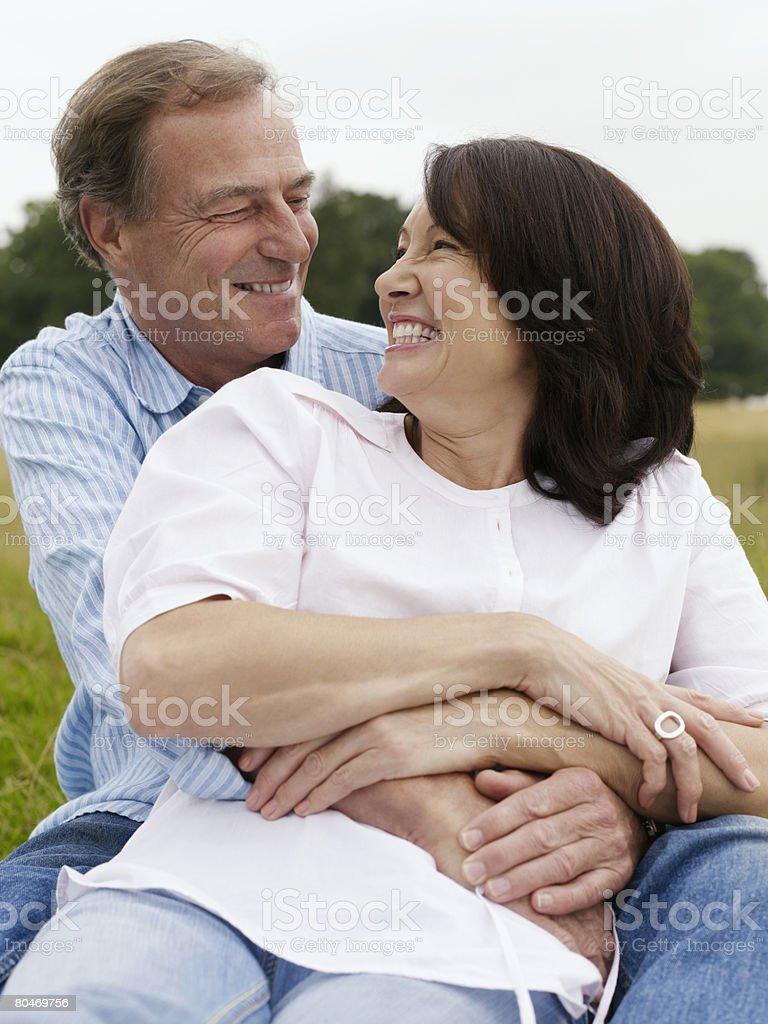 Mature couple hugging royalty-free stock photo
