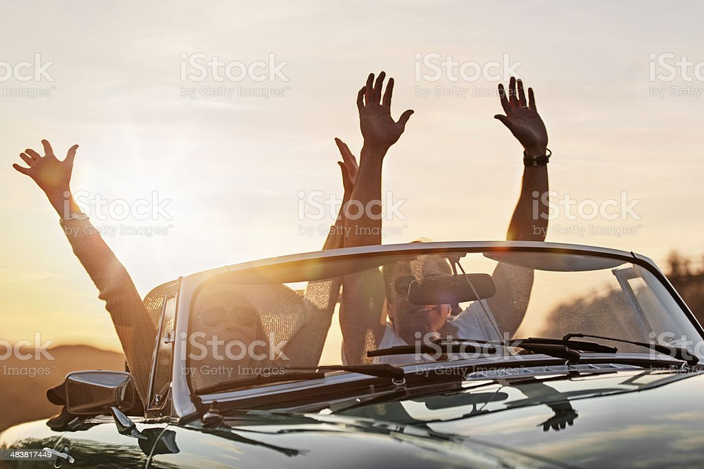 Mature couple in a cabriolet royalty-free stock photo