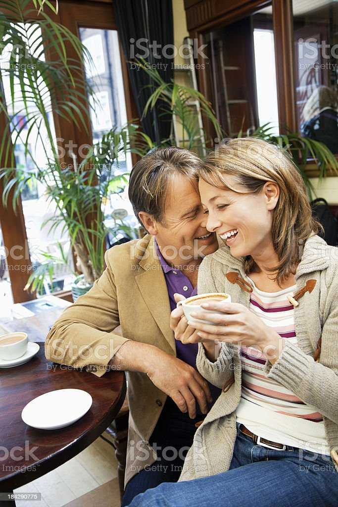 mature couple in a cafe royalty-free stock photo