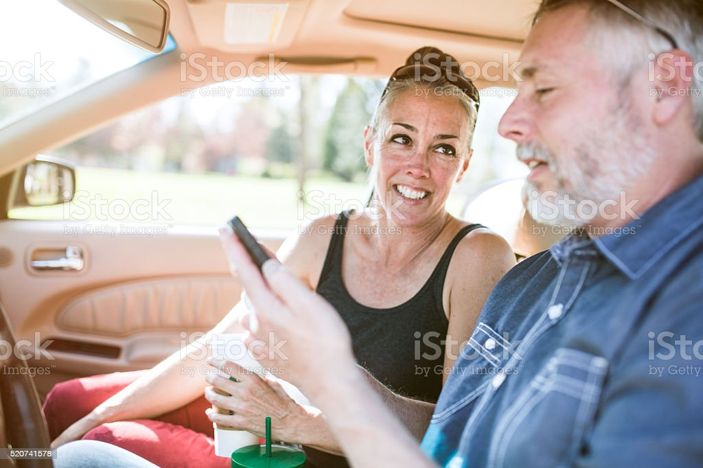 Mature Couple In Car Travel stock photo