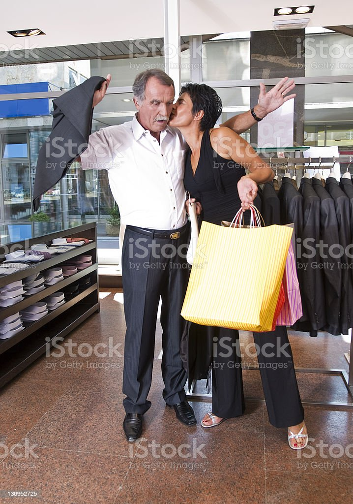 Mature Couple In Clothing Store royalty-free stock photo