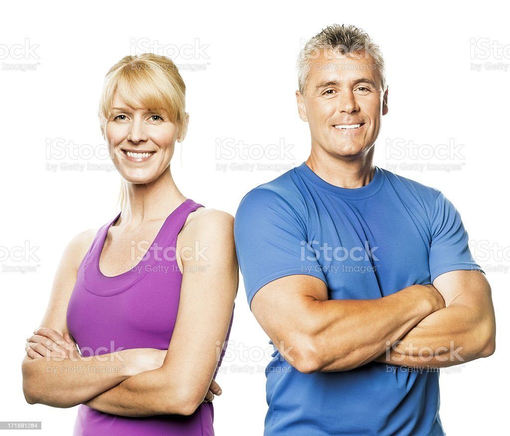 Mature Couple in Fitness Wear (Isolated on White) stock photo