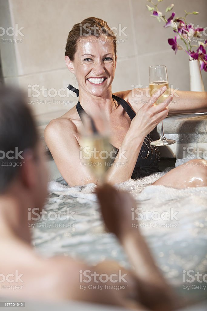 Mature couple in jacuzzi royalty-free stock photo