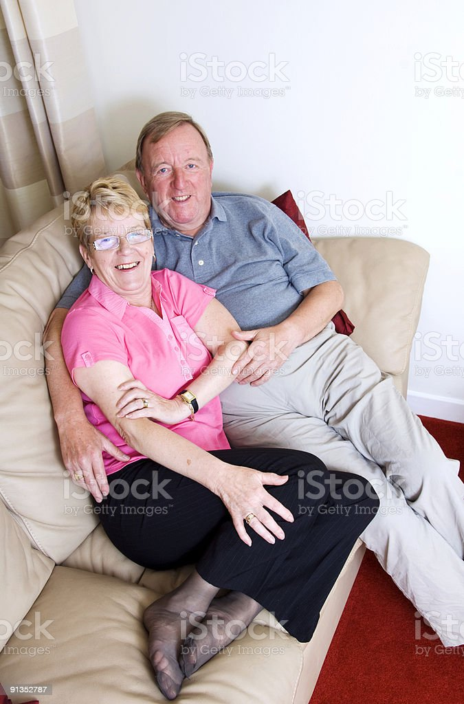 mature couple in love at home royalty-free stock photo