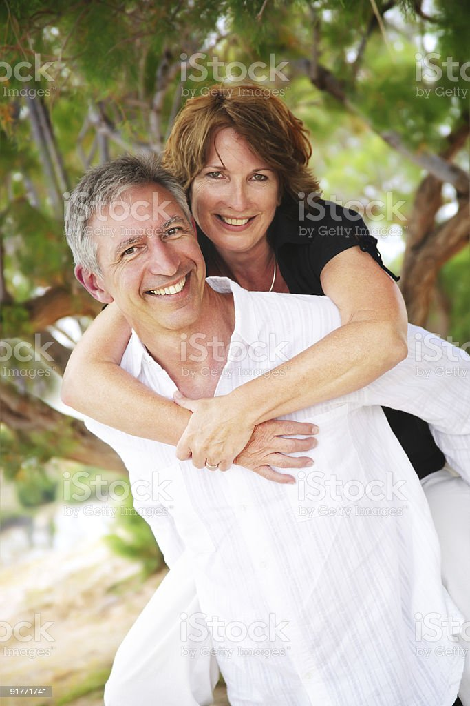 Mature couple in love posing for a picture royalty-free stock photo