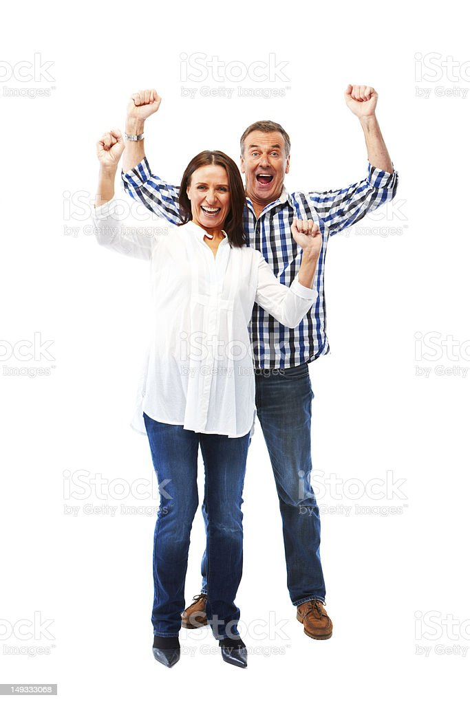 Mature couple isolated on white background cheering royalty-free stock photo