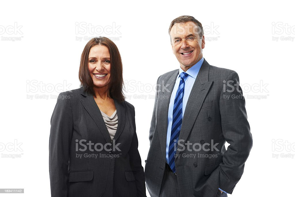 Mature couple isolated on white background looking into camera royalty-free stock photo