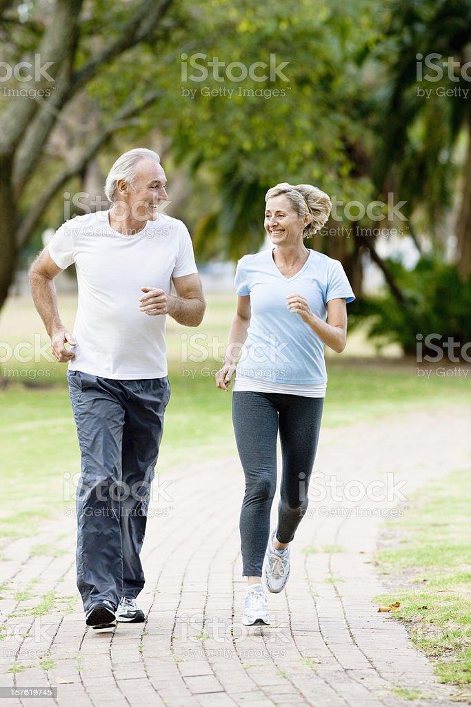 Mature Couple Jogging royalty-free stock photo