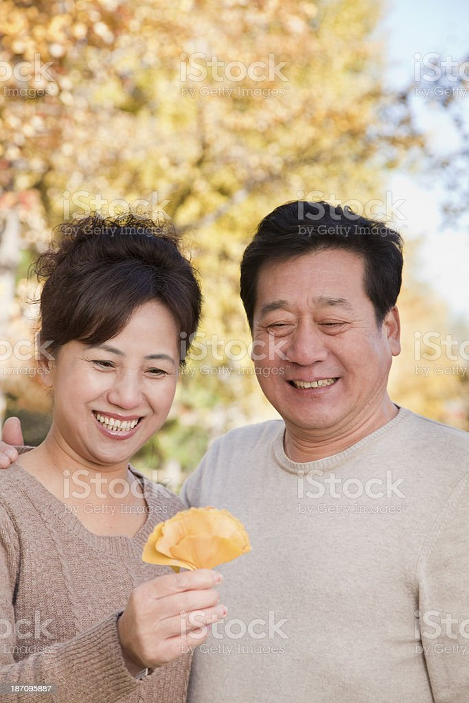 Mature Couple Looking at Leaf in the Park royalty-free stock photo