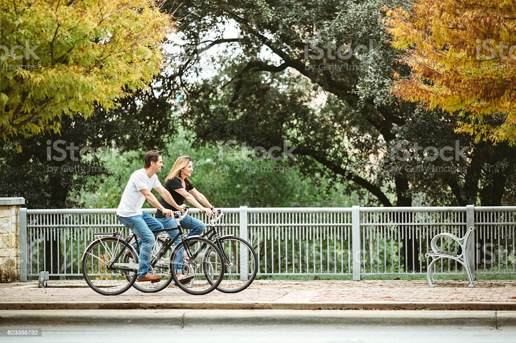 Mature Couple on Bikes in Austin Texas stock photo