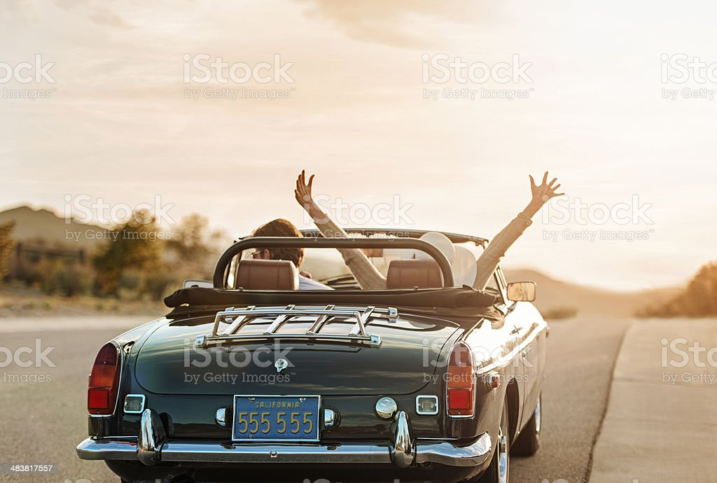 Mature couple on Roadtrip stock photo