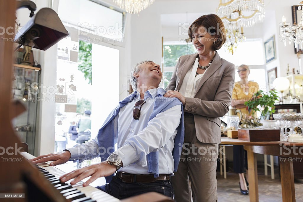 Mature Couple Shopping in Antique Store stock photo