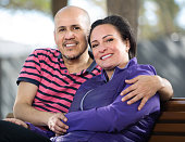 Mature couple sitting on the bench