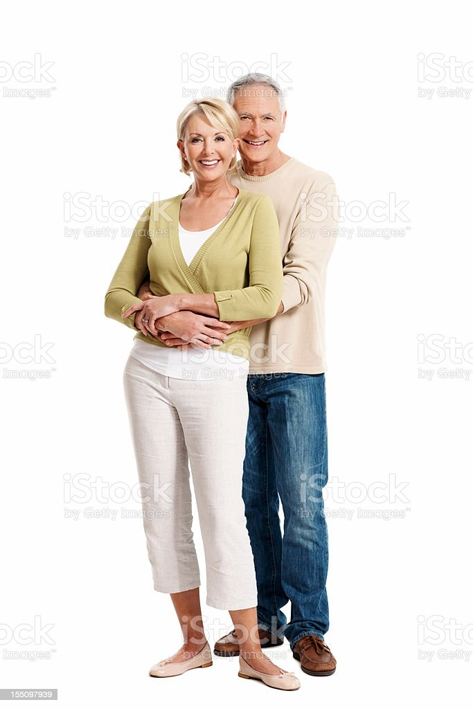 Mature couple smiling in casual clothes royalty-free stock photo