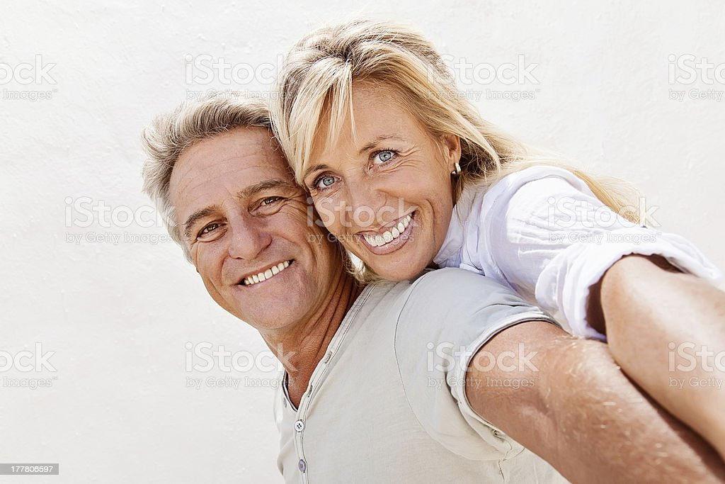 Mature couple smiling stock photo