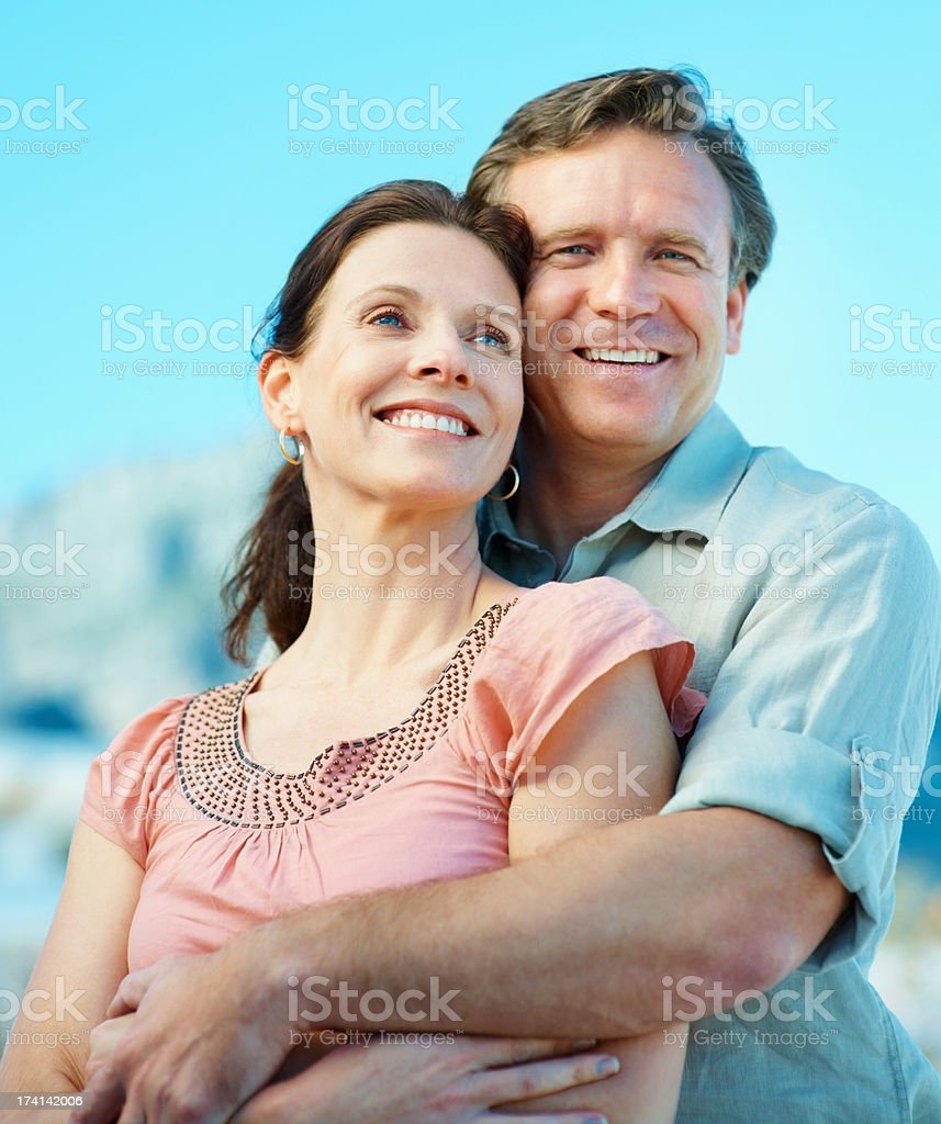 Mature couple spending a romantic time together stock photo