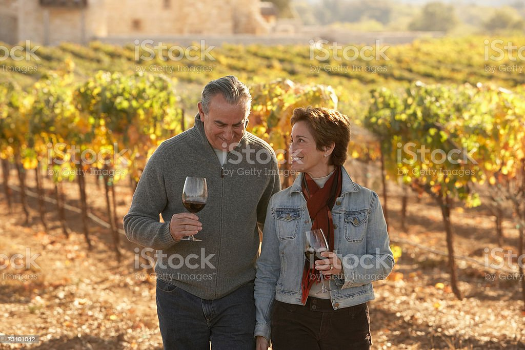 Mature couple standing in vineyard, holding glasses of wine, smiling stock photo