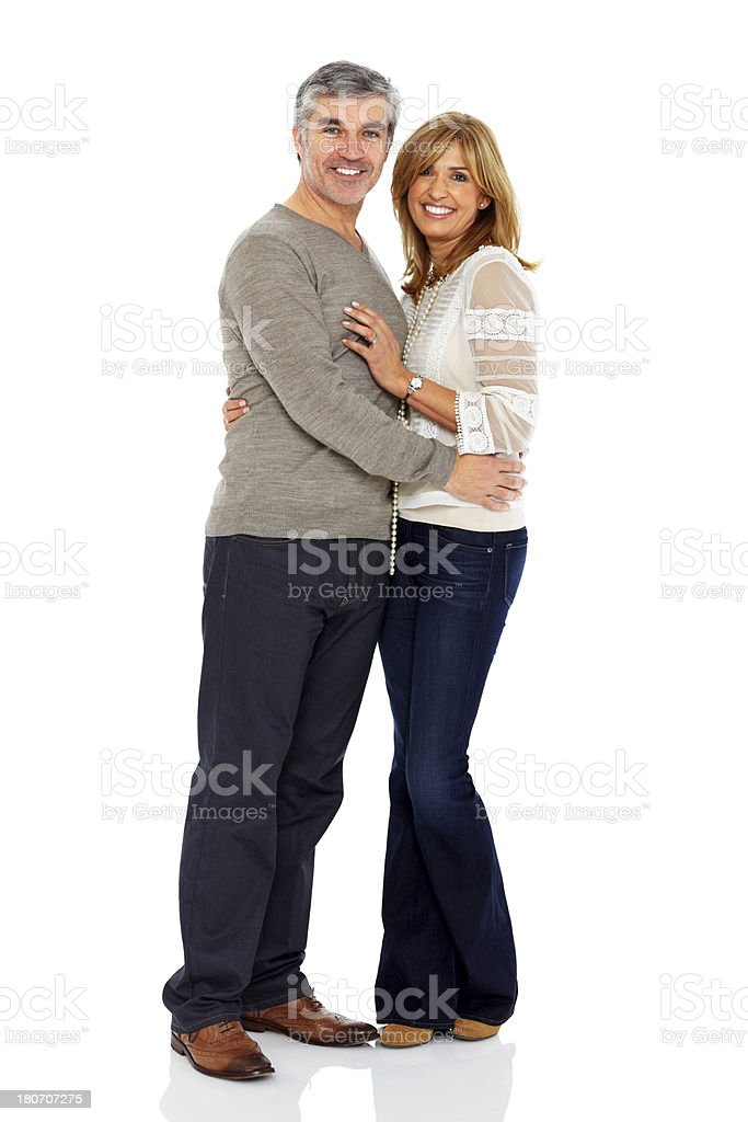 Mature couple standing together over white royalty-free stock photo