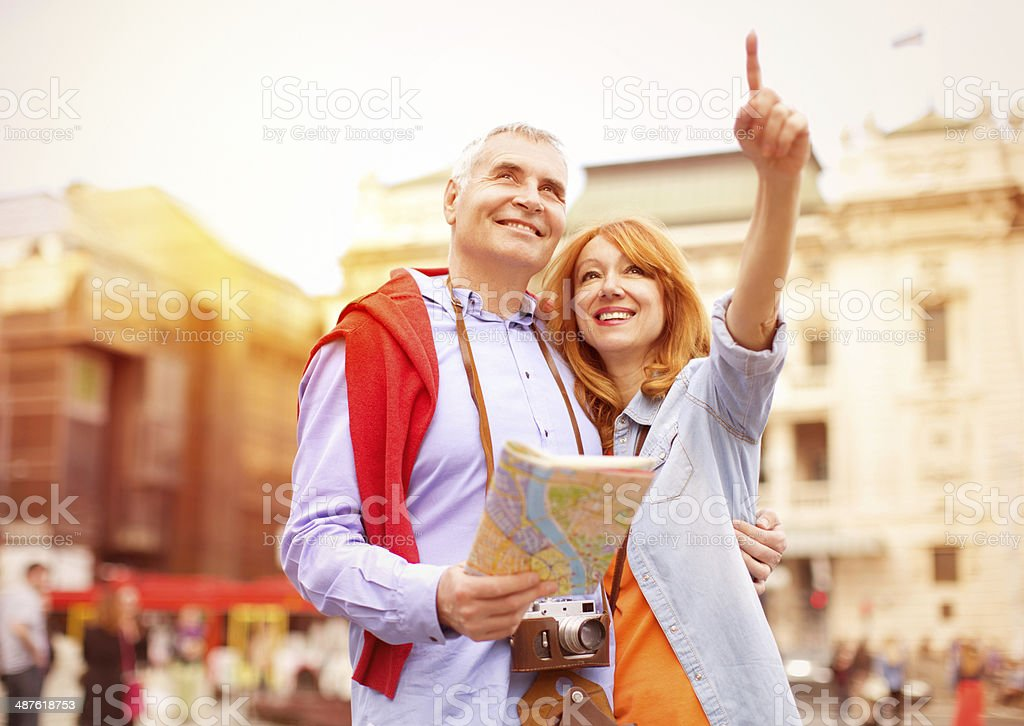 Mature couple traveling. stock photo