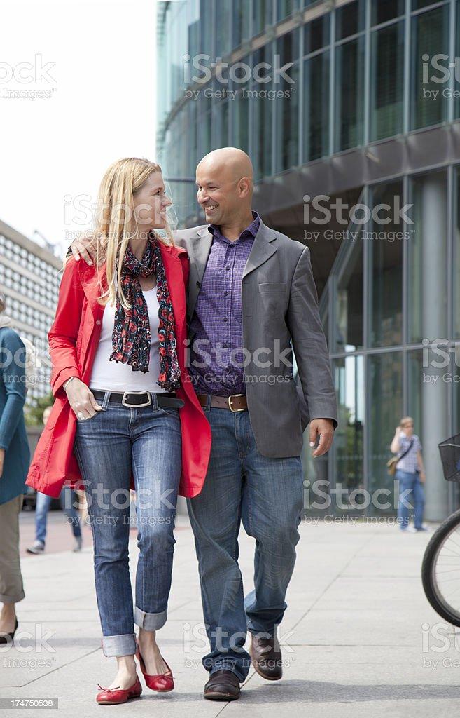 mature couple walking happily royalty-free stock photo