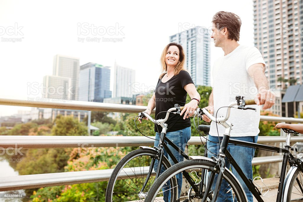 Mature Couple With Bikes in Austin Texas stock photo