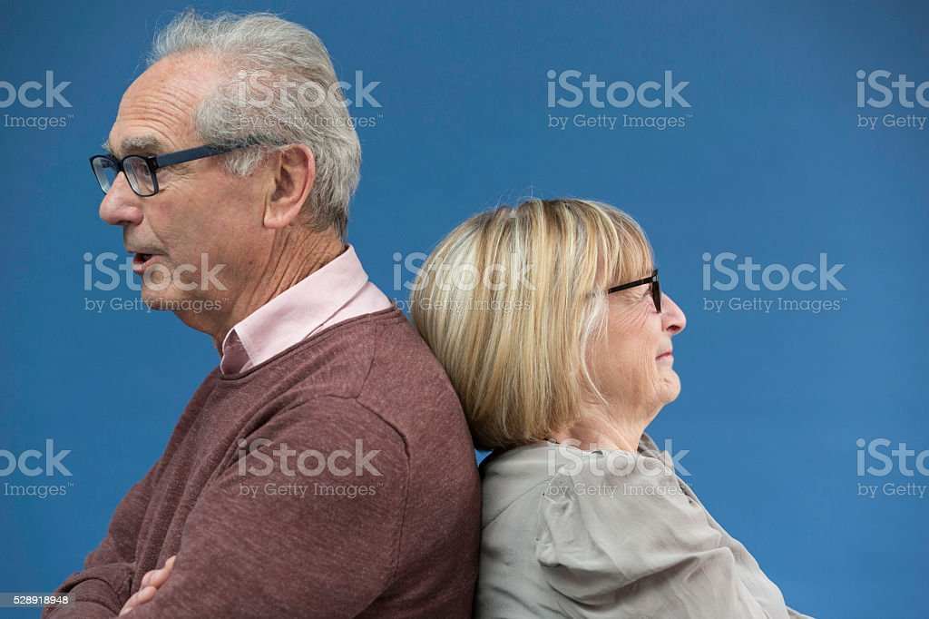 Mature couple with relationship conflict stock photo