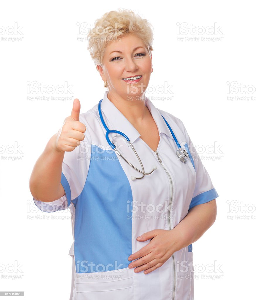 Mature doctor shows ok gesture royalty-free stock photo