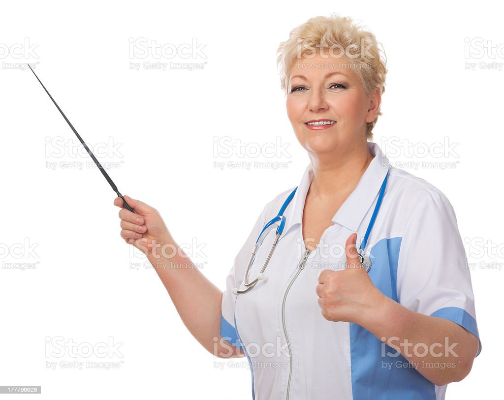 Mature doctor with pointer royalty-free stock photo