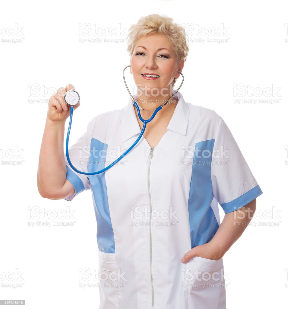 Mature doctor with stethoscope royalty-free stock photo