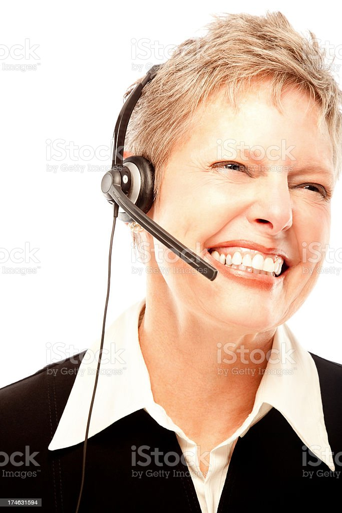 Mature female customer service operator royalty-free stock photo
