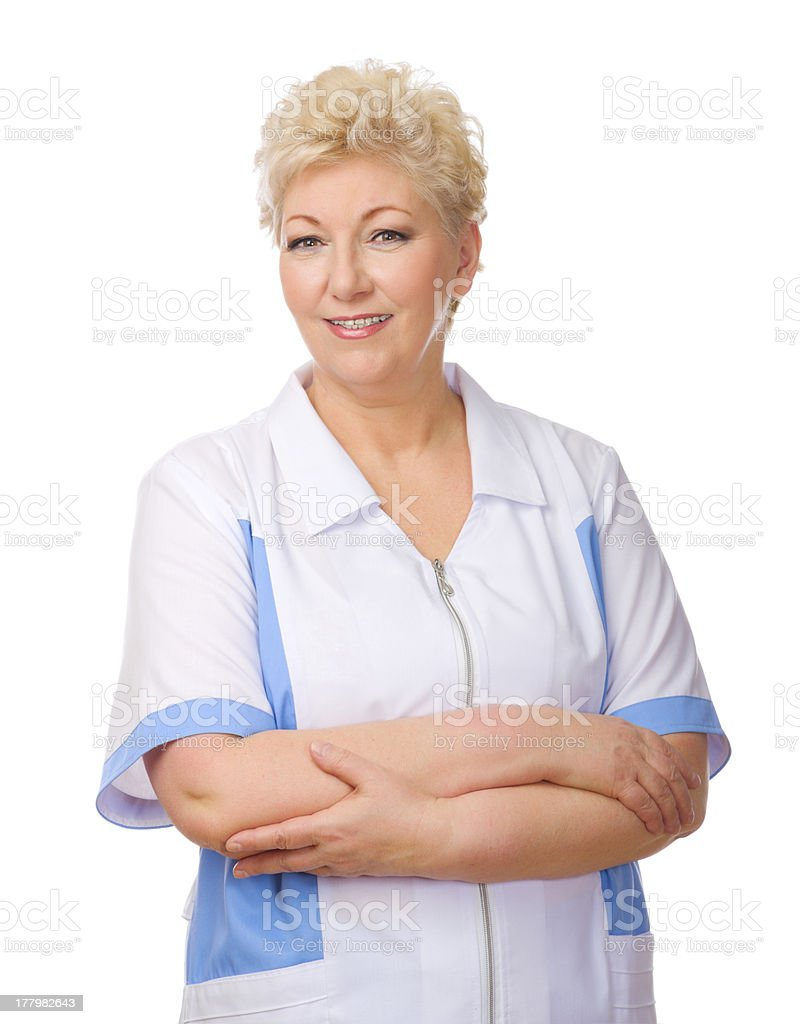 Mature funny doctor isolated royalty-free stock photo
