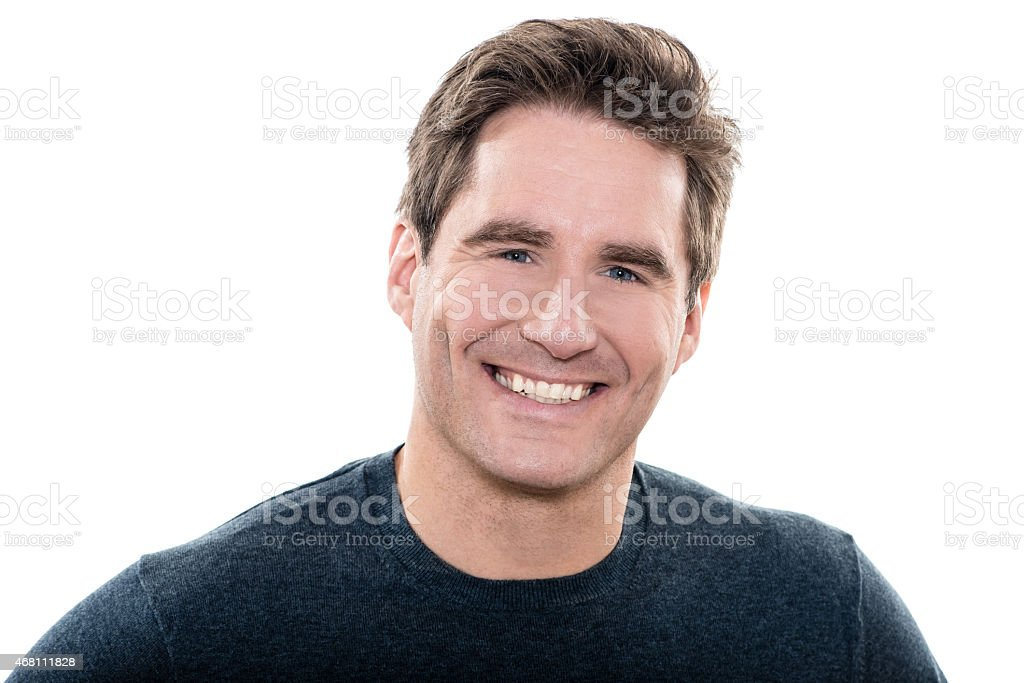 mature handsome man blue eyes smiling portrait stock photo