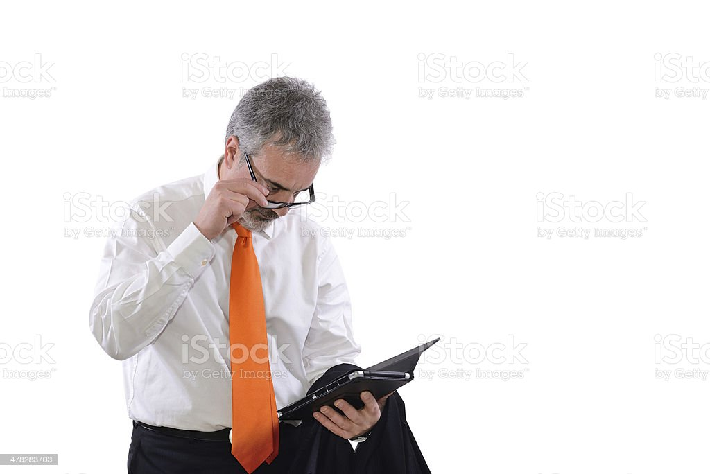 mature  has difficulty reading stock photo